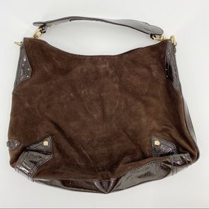 Cole Haan brown suede and patent leather purse